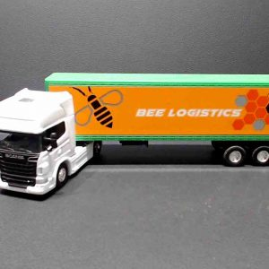 Miniatura Scania v8 r730 – branco – Bee Transporte Logistico